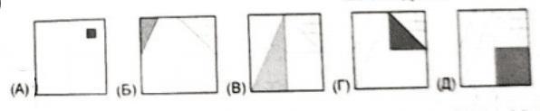 На каком из рисунков раскрашена 1/8 часть большого квадрата?