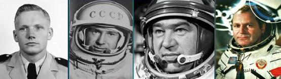 Соотнесите фамилии космонавтов и их фото
